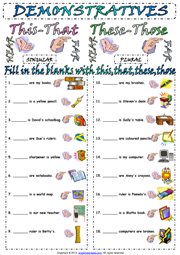 Demonstratives ESL Printable Worksheets and Exercises