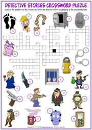Detective Stories ESL Printable Crossword Puzzle Worksheet