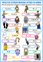 Detective Stories Missing Letters In Words Exercise Worksheet