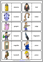 Detective Stories ESL Printable Dominoes Game For Kids