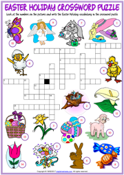 graphic relating to Easter Crossword Puzzles Printable called Easter Holiday vacation ESL Printable Vocabulary Worksheets