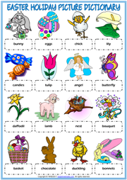 picture about Easter Puzzles Printable referred to as Easter Trip ESL Printable Vocabulary Worksheets