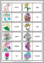 Easter Holiday ESL Printable Dominoes Game For Kids