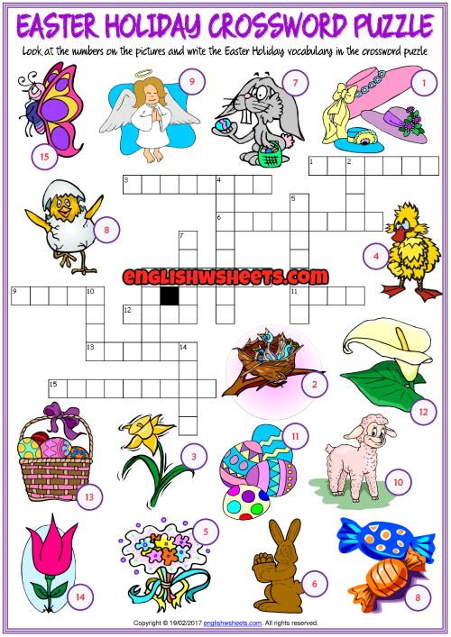 photo regarding Easter Crossword Puzzles Printable titled Easter Vacation ESL Crossword Puzzle Health and fitness Worksheet