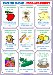 Worksheets Worksheet Idioms Food idioms esl printable worksheets and exercises english study cards about food drinks