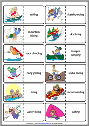 Extreme Sports ESL Printable Dominoes Game For Kids