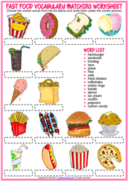 Fast Food ESL Vocabulary Matching Exercise Worksheet