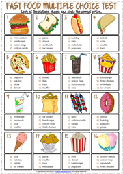 Fast Food ESL Printable Multiple Choice Test For Kids