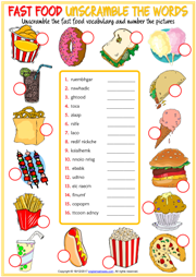 Fast Food ESL Printable Worksheets and Exercises