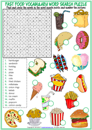 Fast Food ESL Word Search Puzzle Worksheet For Kids