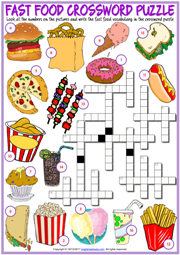 Fast Food ESL Printable Crossword Puzzle Worksheet For Kids