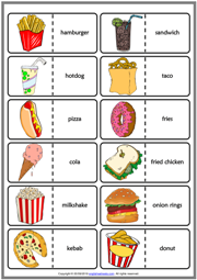 Fast Food ESL Printable Dominoes Game For Kids