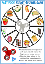 Fast Food ESL Printable Fidget Spinner Game For Kids