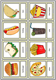 Fast Food ESL Printable Vocabulary Learning Cards For Kids