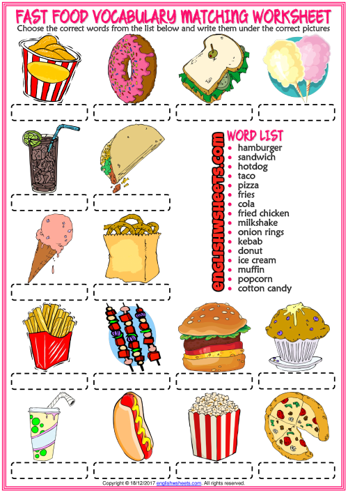 Fast Food Vocabulary ESL Matching Exercise Worksheet