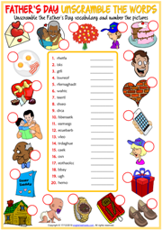 Father's Day ESL Unscramble the Words Worksheet