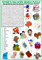 Father's Day ESL Word Search Puzzle Worksheet