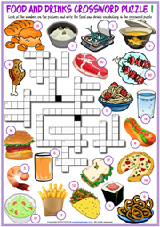Food and Drinks ESL Crossword Puzzle Worksheets