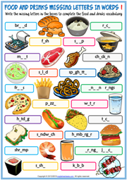 Food and Drinks ESL Missing Letters In Words Worksheets