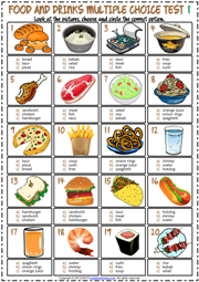 Food and Drinks ESL Printable Multiple Choice Tests