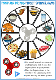 Food and Drinks ESL Printable Fidget Spinner Game