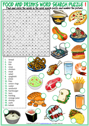 Food and Drinks ESL Word Search Puzzle Worksheets