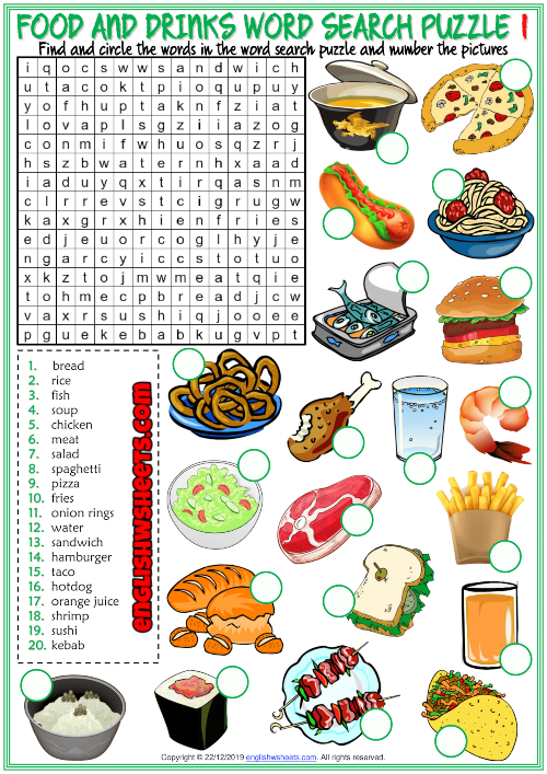 drinks puzzle word vocabulary