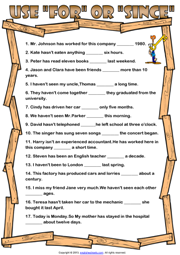 For and Since ESL Printable Worksheets and Exercises