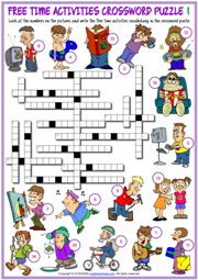 Free Time Activities ESL Crossword Puzzle Worksheets