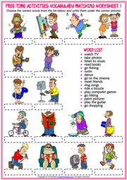 Free Time Activities ESL Matching Exercise Worksheets