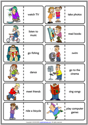 Free Time Activities ESL Printable Dominoes Game