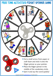 Free Time Activities ESL Printable Fidget Spinner Game