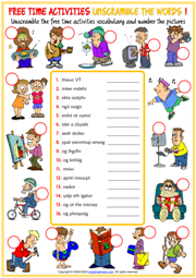 Free Time Activities Unscramble the Words Worksheets