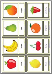 Fruits ESL Printable Vocabulary Learning Cards For Kids