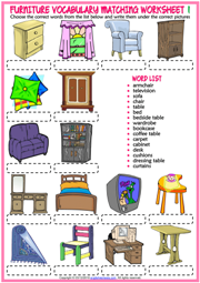 Furniture ESL Vocabulary Matching Exercise Worksheets