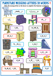 Furniture ESL Missing Letters In Words Exercise Worksheets
