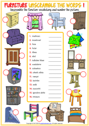 Furniture ESL Unscramble the Words Worksheets For Kids