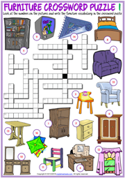 Furniture ESL Printable Crossword Puzzle Worksheets