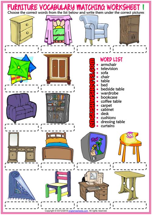 Furniture Vocabulary ESL Matching Exercise Worksheets