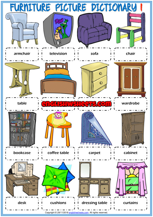 Furniture Esl Printable Picture Dictionary Worksheets For Kids