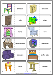 Furniture ESL Printable Dominoes Game For Kids