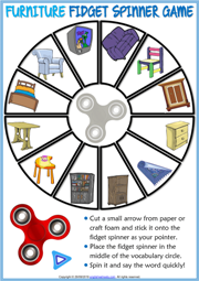 Furniture ESL Printable Fidget Spinner Game For Kids