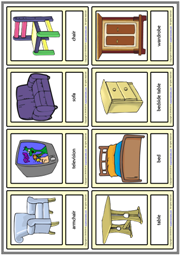 Furniture ESL Printable Vocabulary Learning Cards For Kids