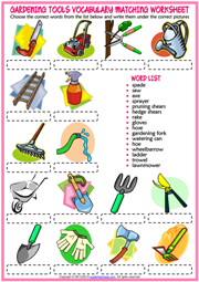 Gardening Tools ESL Matching Exercise Worksheet For Kids