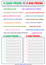 A Good Friend vs A Bad Friend ESL Exercise Worksheet