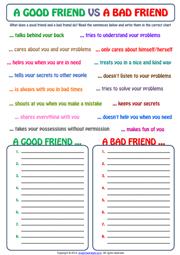 Friendship ESL Printable Worksheets and Exercises