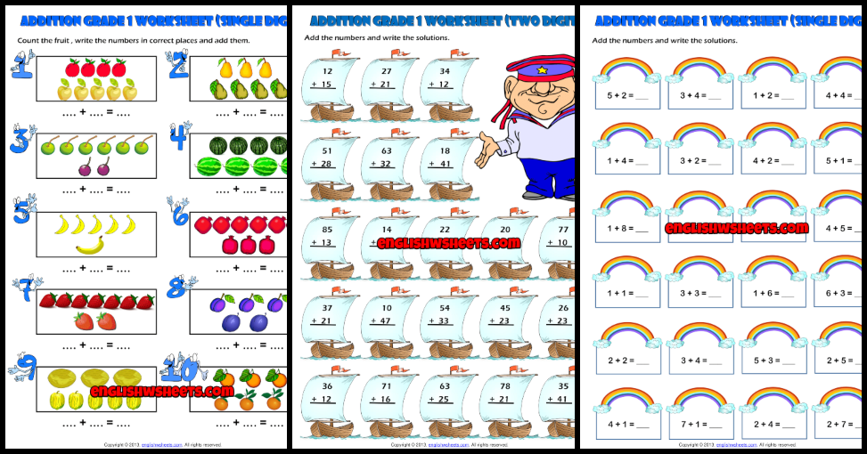 Grade 1 Addition Printable Worksheets And Exercises