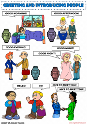 Greeting people esl printable worksheets and exercises greeting people picture dictionary esl worksheet m4hsunfo
