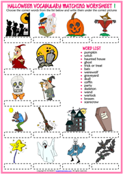 Halloween ESL Vocabulary Matching Exercise Worksheets