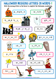 Halloween Missing Letters In Words Exercise Worksheets